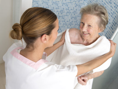 Elderly with caregiver
