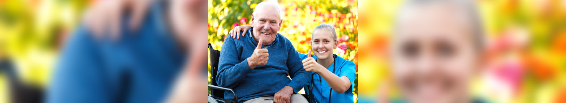 caregiver and old woman showing their thumbs up